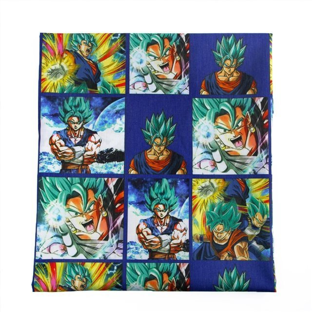 dragon ball blue  poliester and cotton fabric  (a half of a yard)