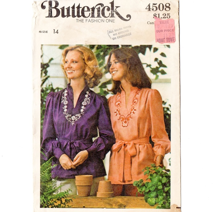 Butterick 4508 Misses Embroidered Top, Blouse 70s Vintage Sewing Pattern UNCUT