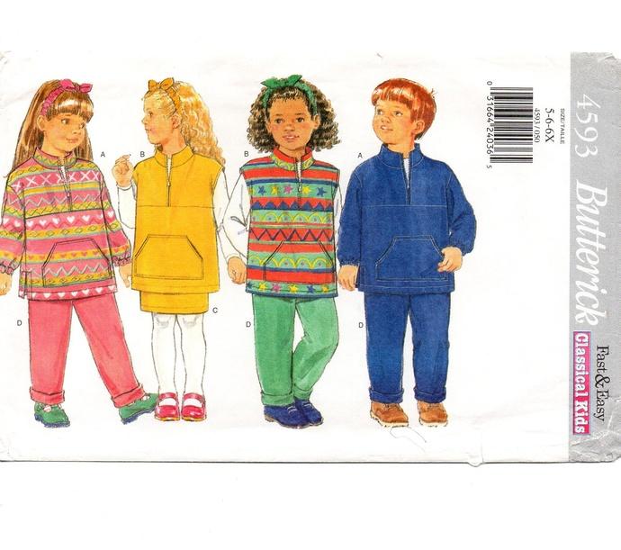 Butterick 4593 Boy Girl Top, Pants, Skirt, Jacket 90s Vintage Sewing Pattern