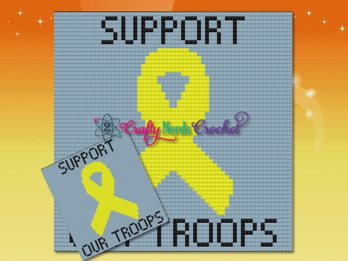 Support Our Troops Pattern Graph With C2C Written