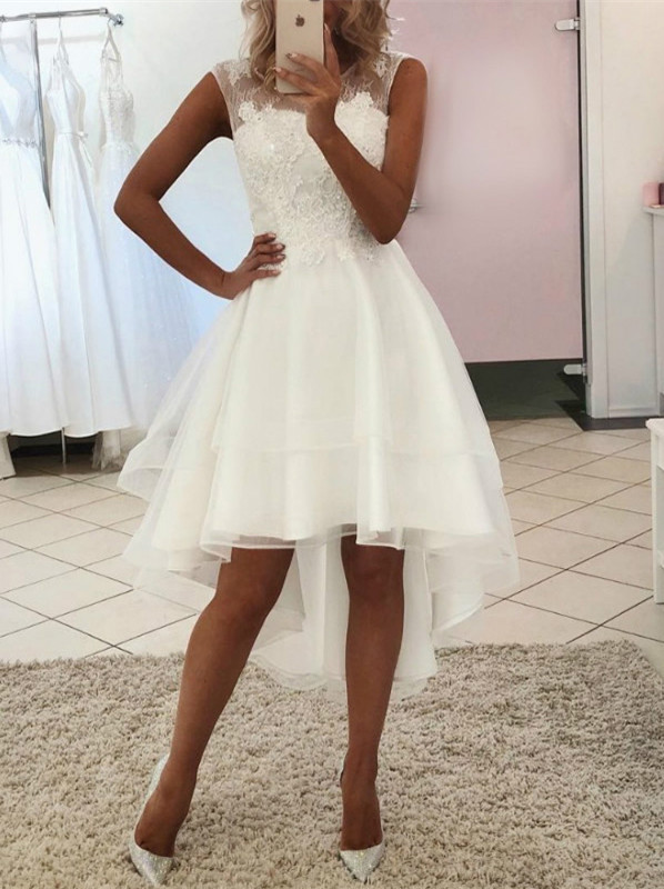 White Tulle High Low Lace Round Neckline Party Dress, Short Graduation Dress