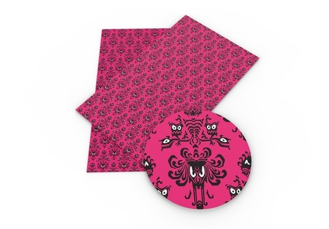 haunted mansion pink poliester and cotton fabric  (a half of a yard)