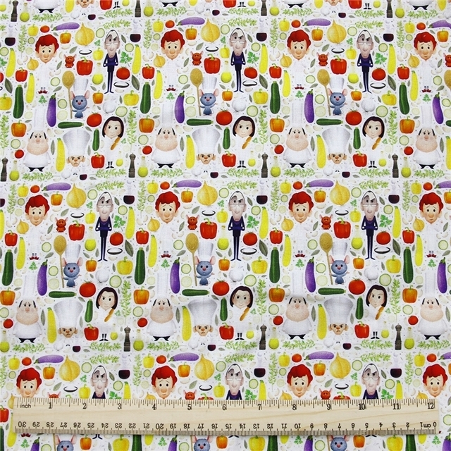 ratatouille poliester and cotton fabric  (a half of a yard)