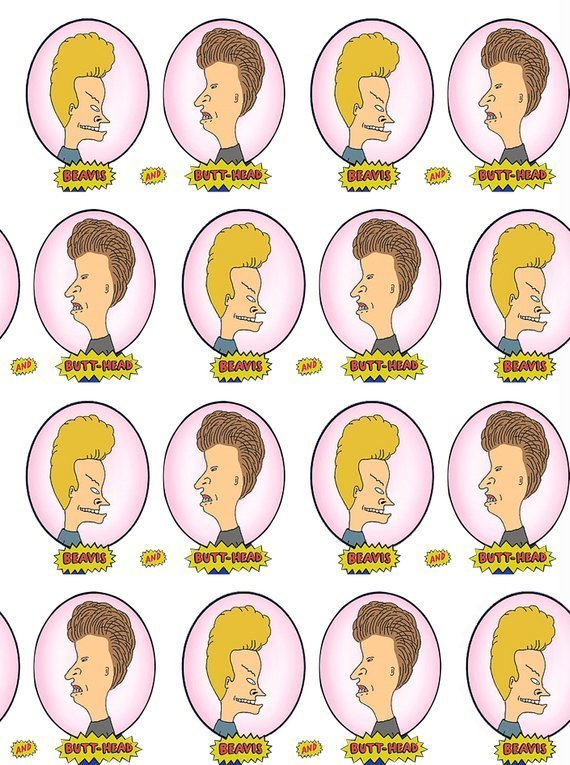beavis and butt head poliester and cotton fabric  (a half of a yard)