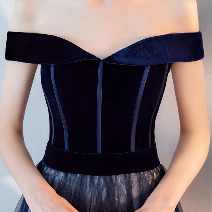 Blue Tulle and Velvet Long Formal Dress, Sweetheart A-line Prom Dress, Evening