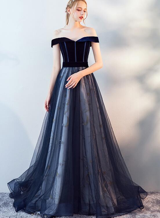 Blue Tulle and Velvet Long Formal Dress, Sweetheart A-line Prom Dress, Evening