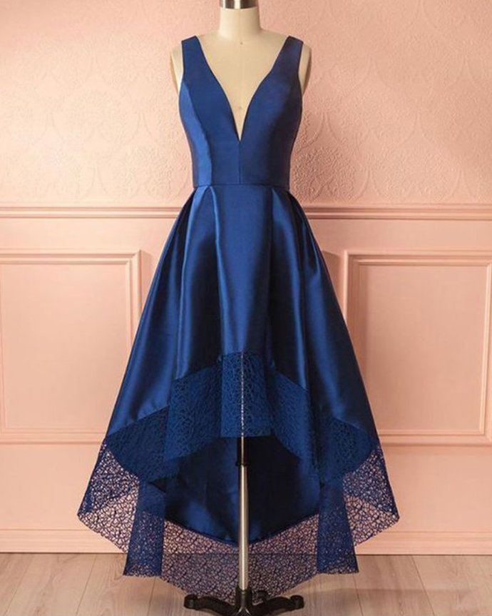 High Low Prom Dress with Lace Hem