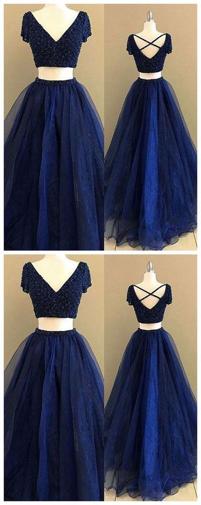 Simple Prom Dresses,New Prom Gown,Vintage Prom Gowns,royal Two Pieces Long Prom