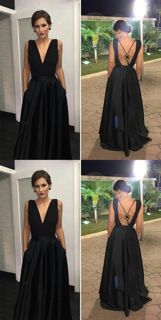 Simple V-Neck Long Prom Dresses Satin Backless Evening Dresses A-Line Formal