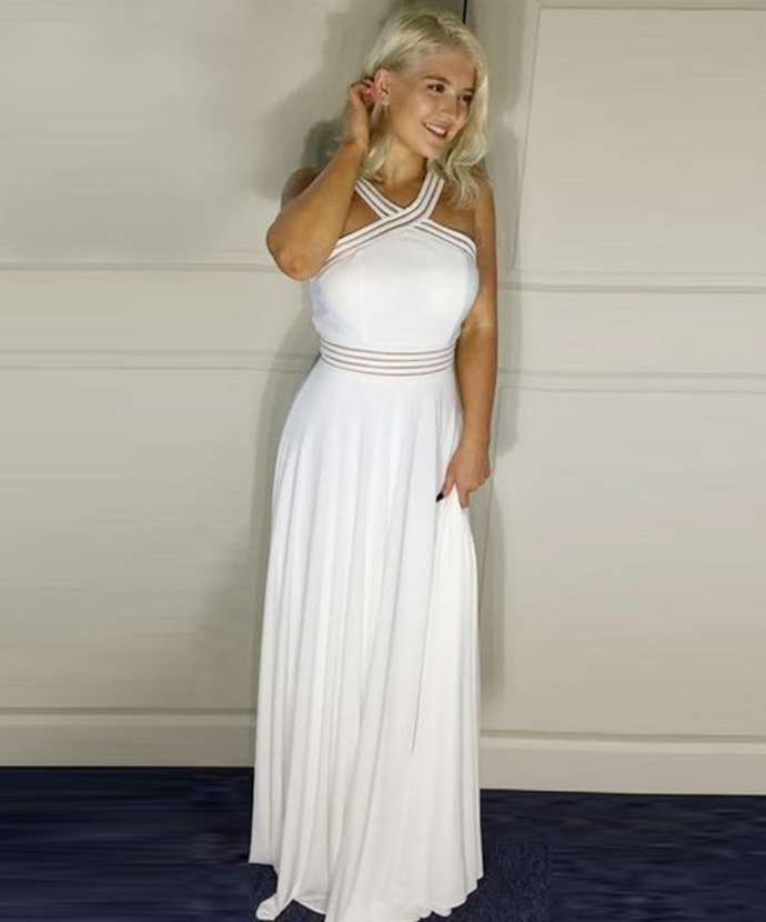A-Line Cross Neck Floor-Length Prom Dress with Sequins, simple cross neck,