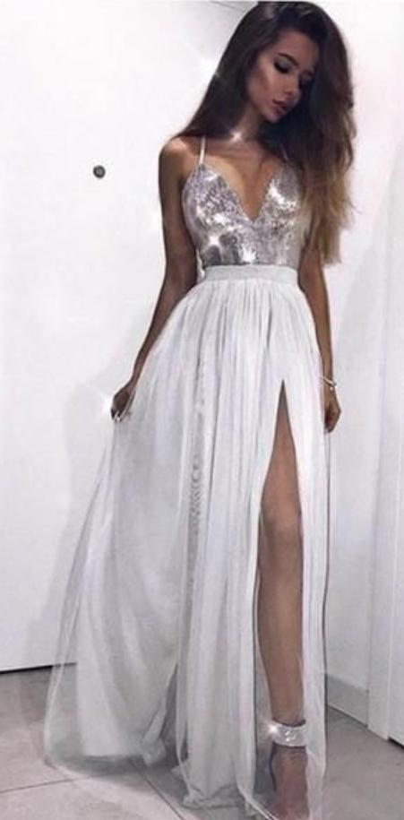 Halter Side Slit Sequin Tulle Long Evening Prom Dresses