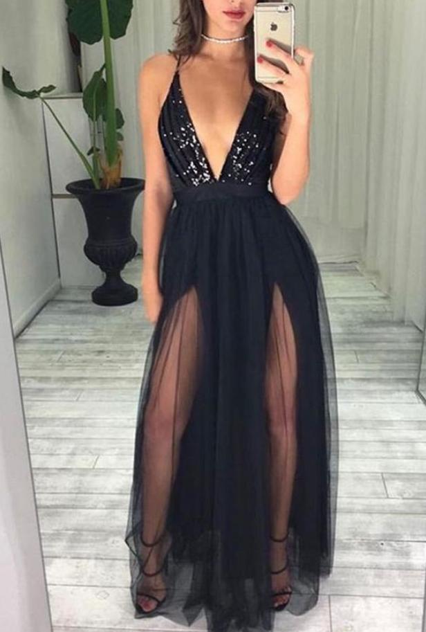 Spaghetti Straps Deep V Neck With Beading Prom Dress