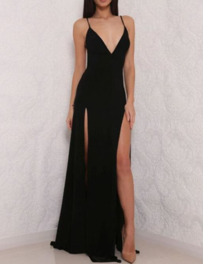 Spaghetti Strap Prom Dress,V neck Prom Dress,Open Back Prom Dress with Side