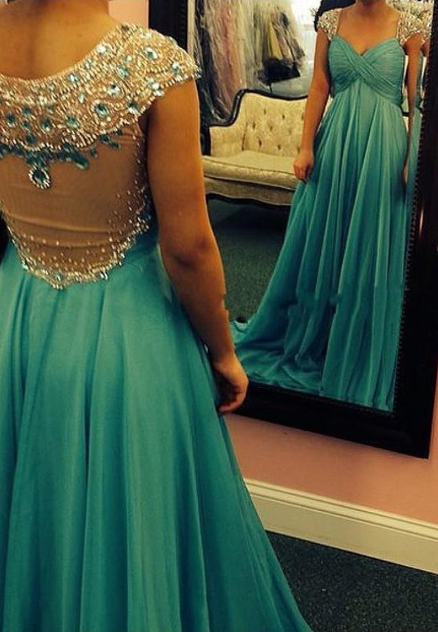 Evening Dresses V Neck Crystal Beaded Ruched Chiffon Long Prom Formal Party Gown