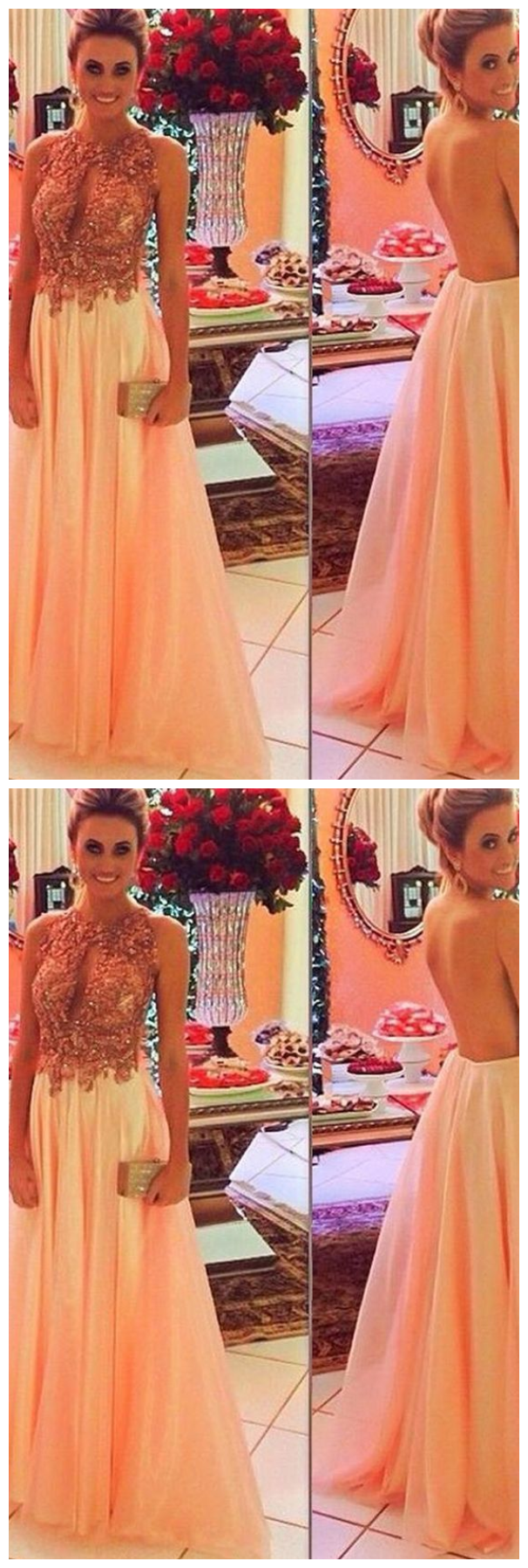 A Line Floor Length Sheer Back Sleeveless Beading Cheap Prom Dress,Evening Dress
