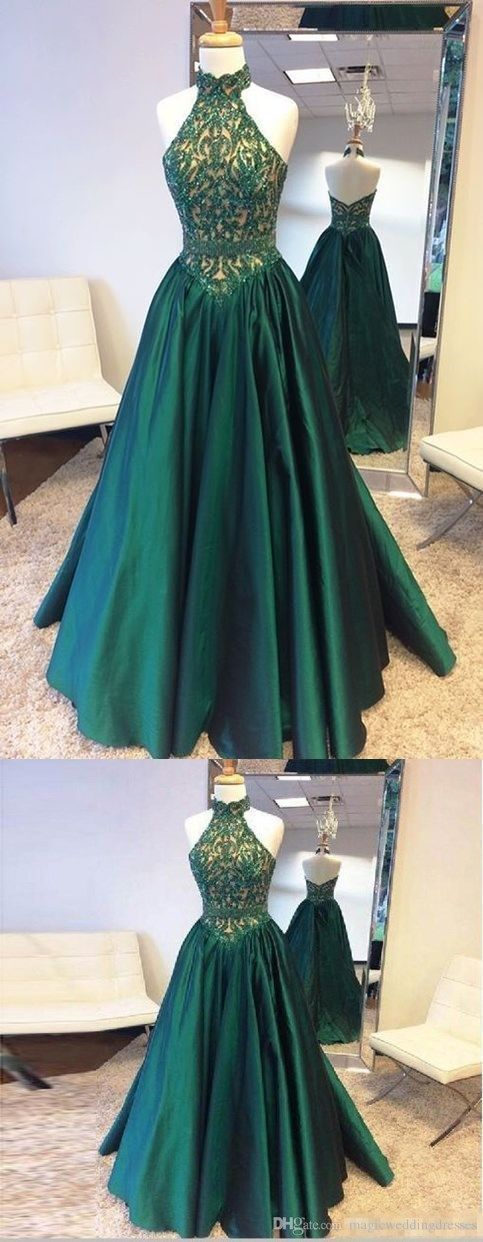 A-Line Prom Dress,Floor-length Open Back Lace