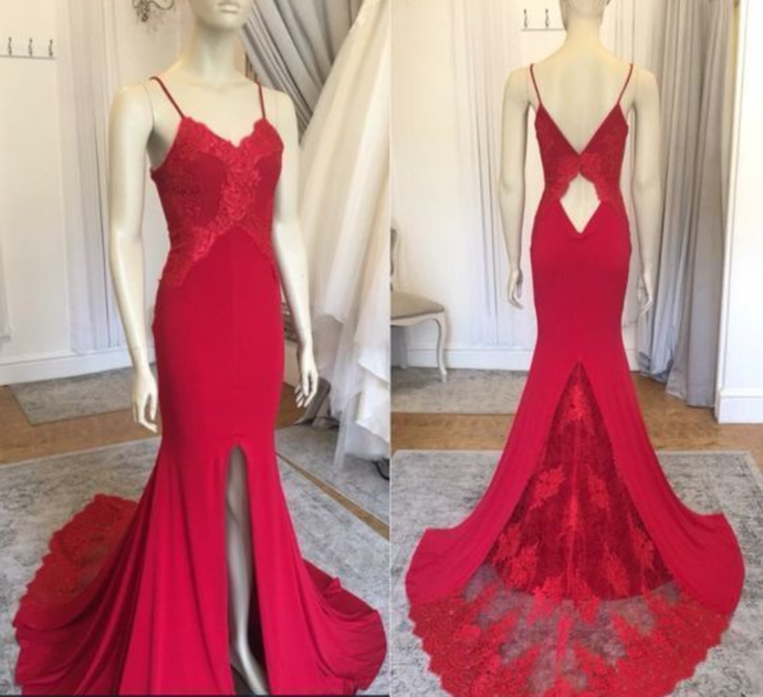 Spaghetti Straps Mermaid Prom Dresses,Long Prom Dresses, Evening Dress Prom