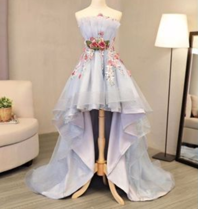 tulle strapless high low flower appliques homecoming dress, party dress
