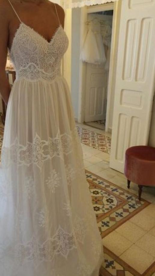 V-Neck Lace, Long Prom Dresses ,Spaghetti Straps Evening Dresses, Tulle A-Line