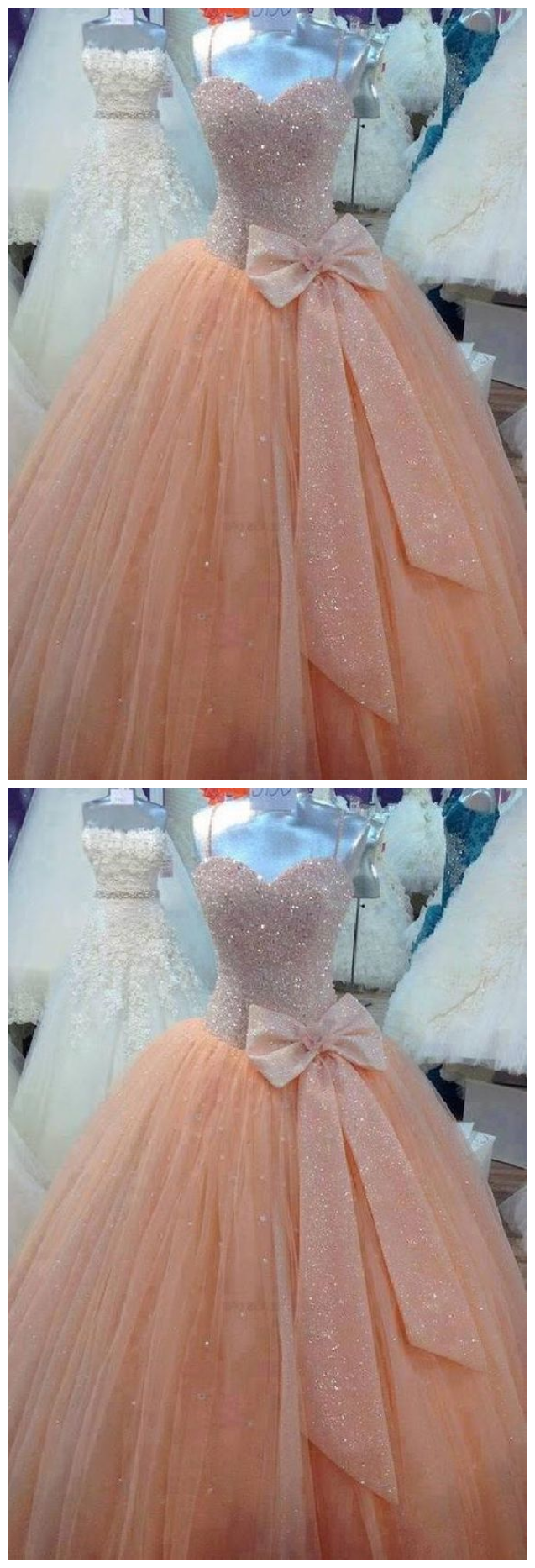 Cheap Substantial Ball Gown Spaghetti Strap Sweetheart Beaded Ball Gown, Evening