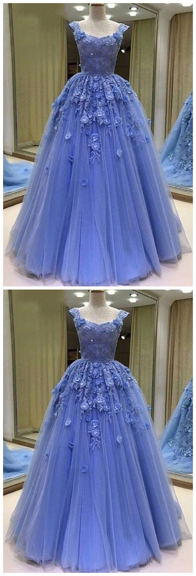 Sexy Tulle Prom Dress, Appliuqes Long Evening Dress,Formal Dress Sexy Tulle Prom
