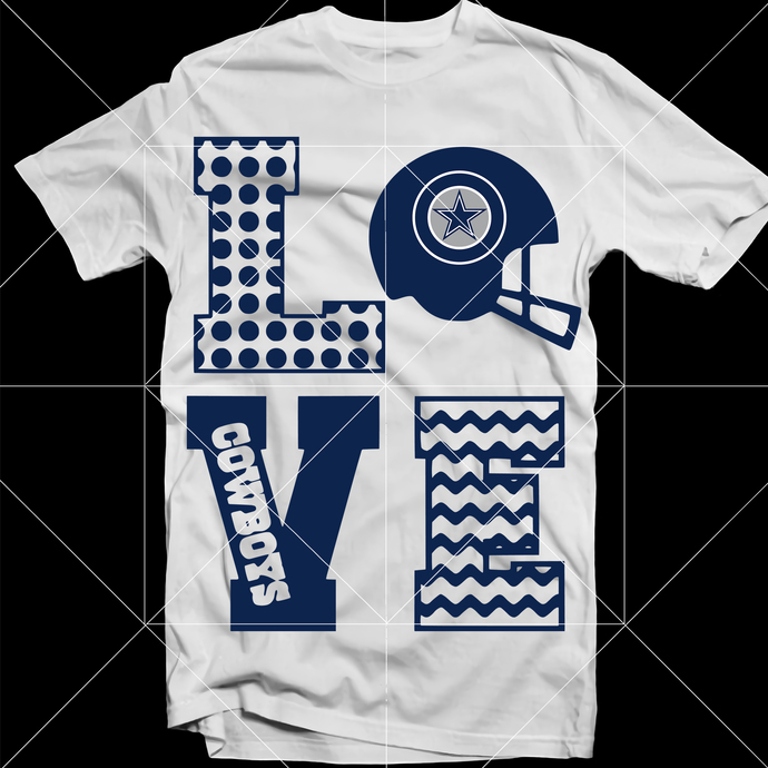 Love Dallas Cowboys SVG, Skull SVG, Dallas Cowboys SVG, Cowboys vector, NFL