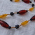 vintage amber yellow black gold lucite beads necklace mint nos