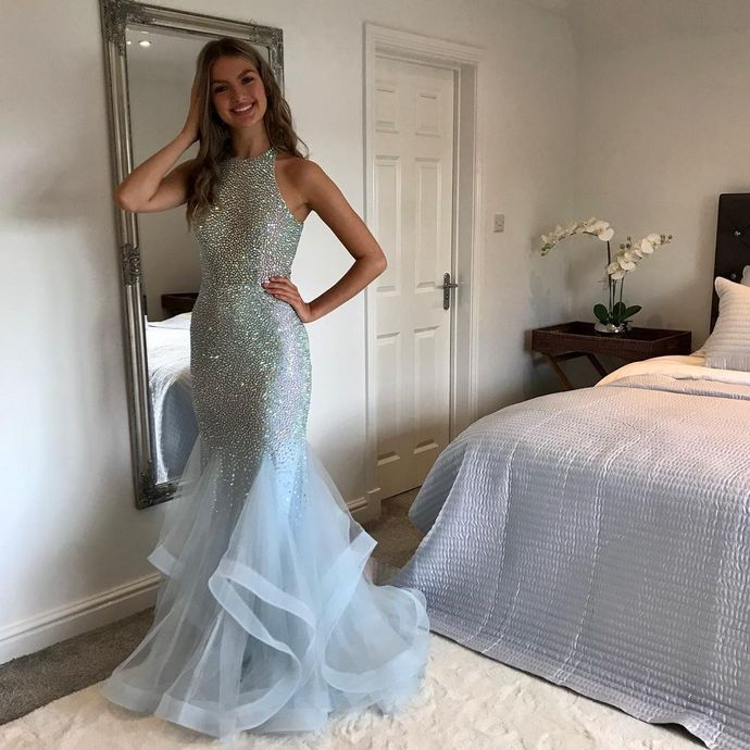 Charming O-Neck Mermaid Prom Dresses,Long Prom Dresses,Cheap Prom Dresses,
