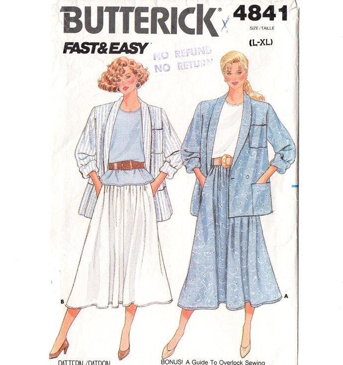 Butterick 4841 Misses Jacket, Top, Skirt 80s Vintage Sewing Pattern Size Large