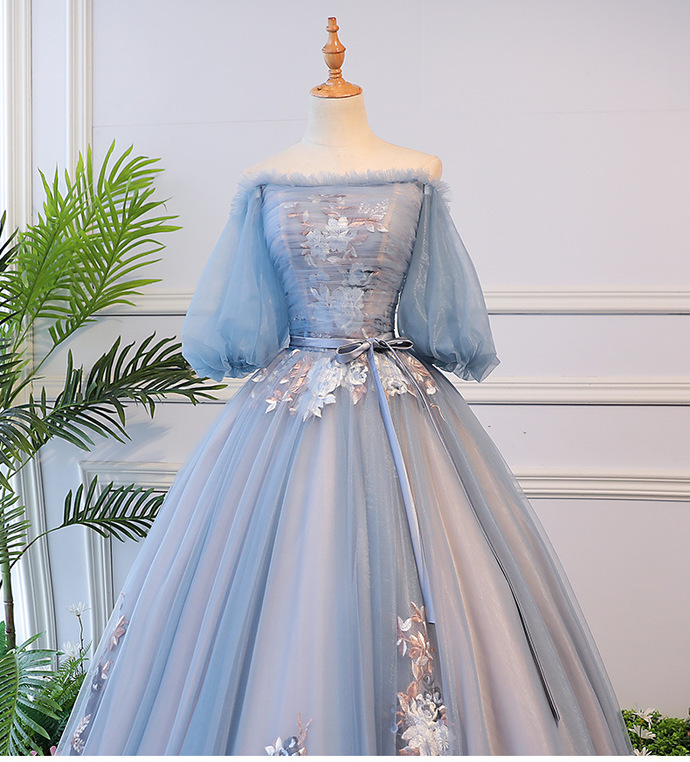 Charming Blue Floral Tulle Long Short Sleeves Prom Dress, Blue Ball Gown Formal