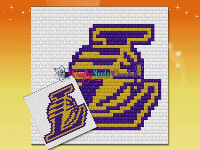 Lakers Pillow Pattern Graph With Mini C2C Written