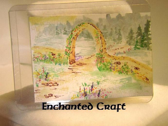 """Arch into the Wild"" original ACEO watercolor painting"