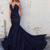 Mermaid Sweetheart Sweep Train Beaded Dark Navy Prom Dress