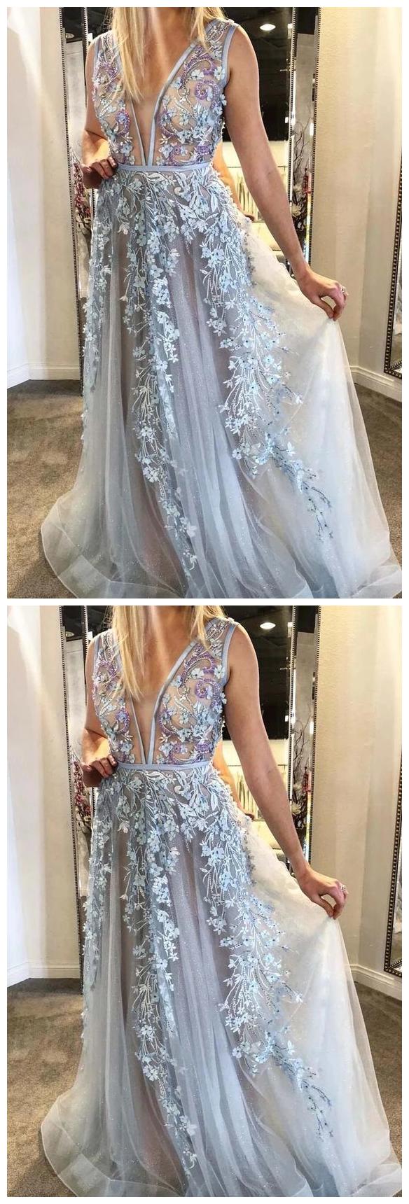 A-line Floral Appliques Long Prom Dress Plunging Neckline Formal Gown