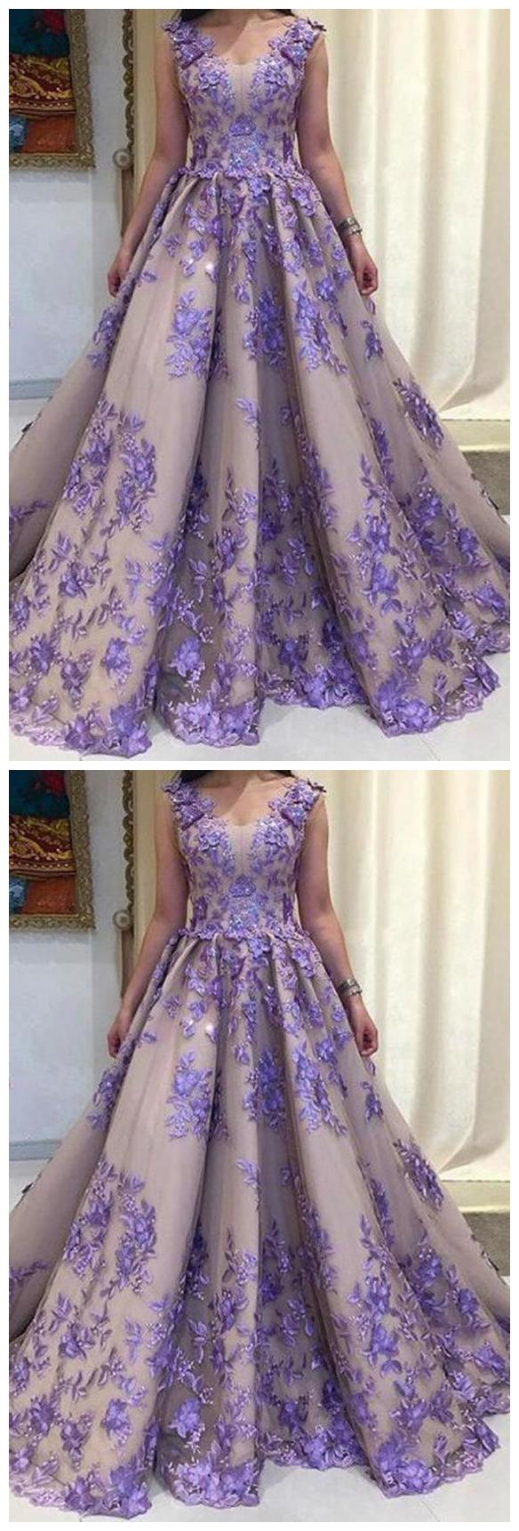 Elegant Sleeveless Flower Appliques Floor Length Long Prom Dress