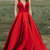 Simple A-line V-neck Satin Long Cheap Red Prom Dresses with Pocket