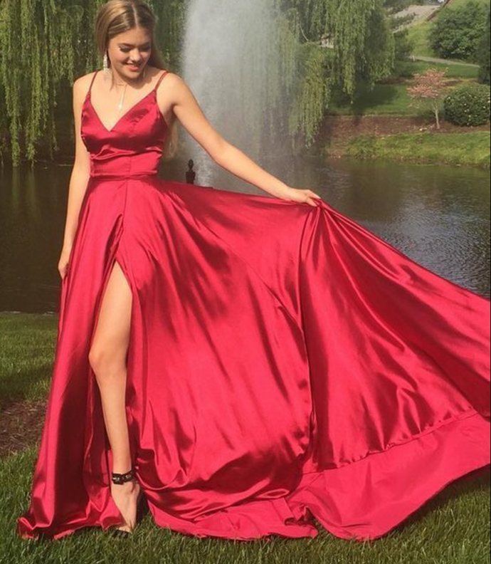 A-line long prom dress,  long prom dress