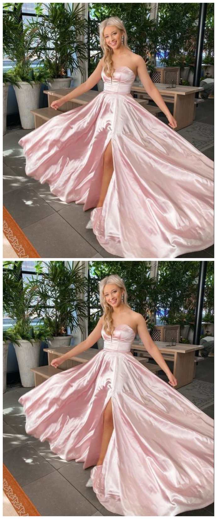 Strapless Long Prom Dress With Split