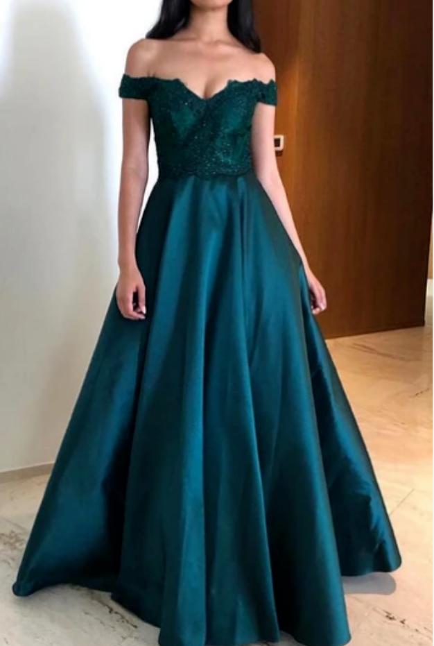 Off Shoulder Long Prom Dress ,School Dance Dresses ,Fashion Winter Formal Dress