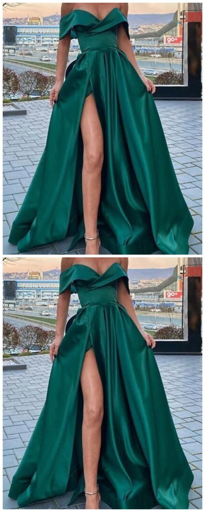 A-Line Off-the-Shoulder Long Prom Dresses Formal Evening Gowns