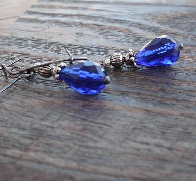 Cobalt Blue Faceted Glass Briolette Earrings