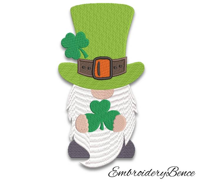 Irish gnome embroidery design St Patricks day machine designs pes pattern