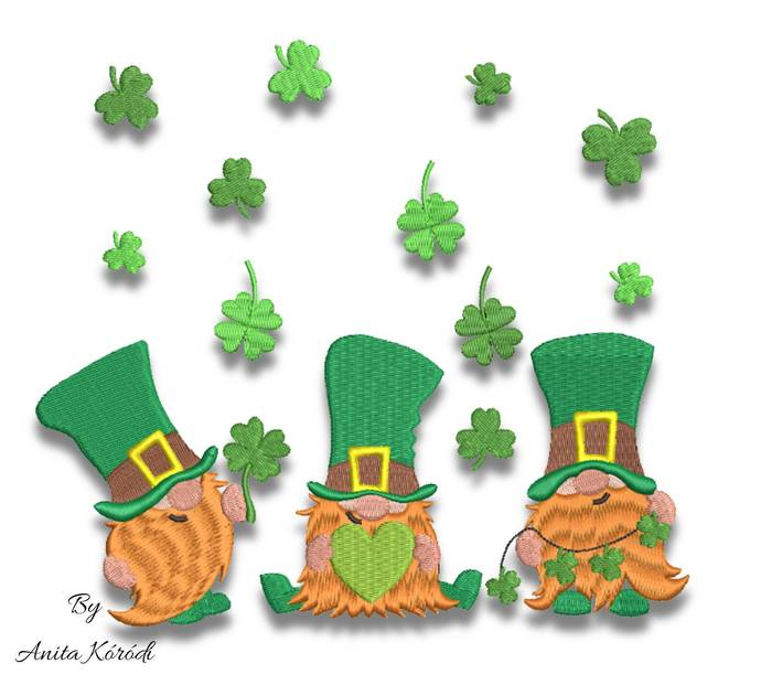 St.Patrick's Day embroidery designs gnomes pattern shamrock