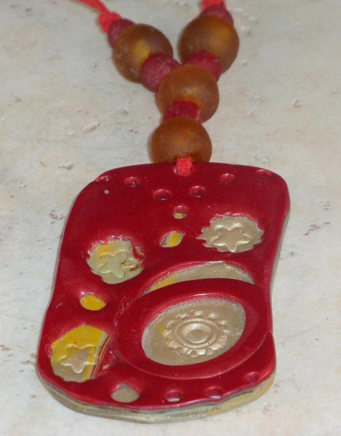 Berry Red Polymer Clay Pendant Necklace