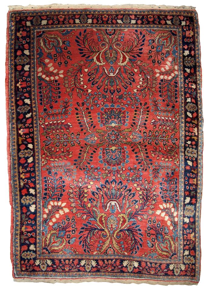 Handmade antique Persian Sarouk rug 3.10' x 5.3' (119cm x 161cm) 1920s - 1B802