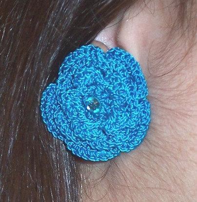 Turquoise Crochet Flower Post Earrings