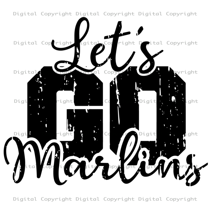 Lets Go Marlins, Sport Svg, Marlins Logo Design, Baseball Team, MLB Team Logo,