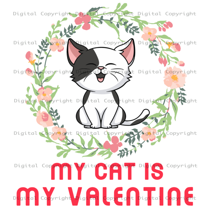 My Cat Is My Valentine Svg, Cat Lover, Flower Wreath Vector, Cute Adorable Cat,