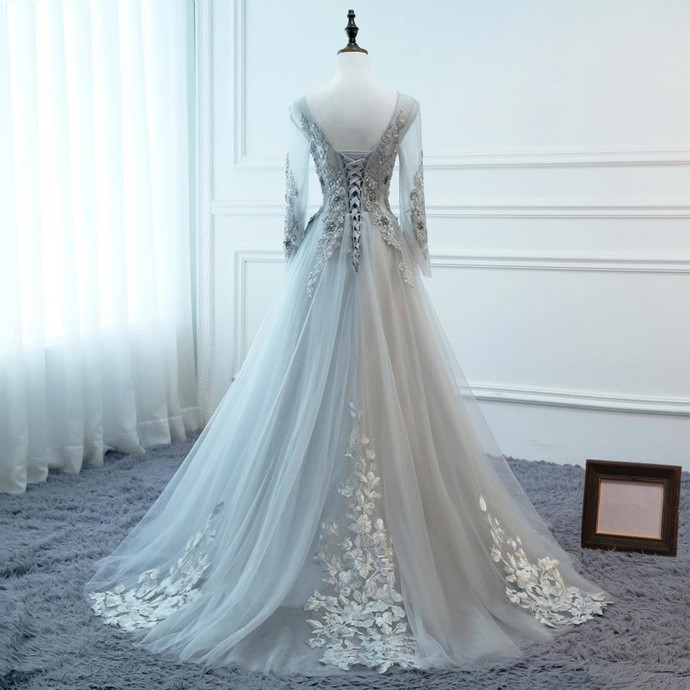 Grey A-line Tulle Long Party Dress with Lace Applique, Long Sleeves Formal Dress