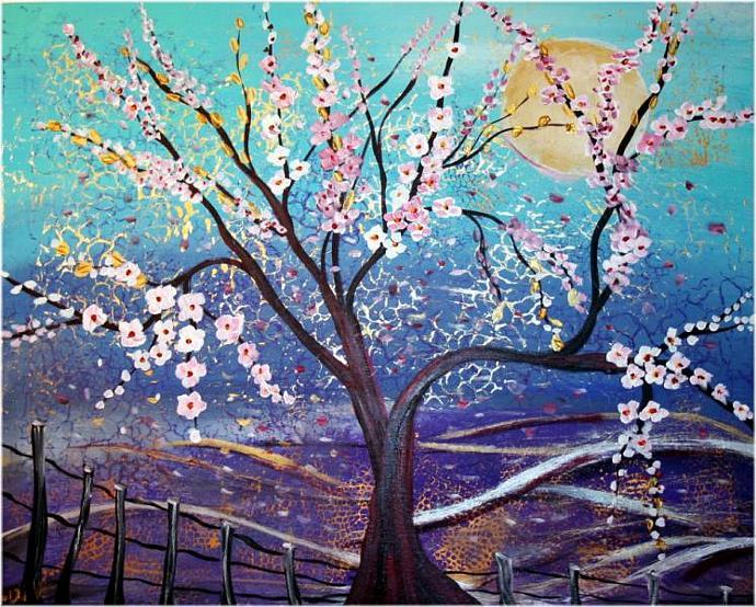 RAINING FLOWERS PRINT from Original Painting